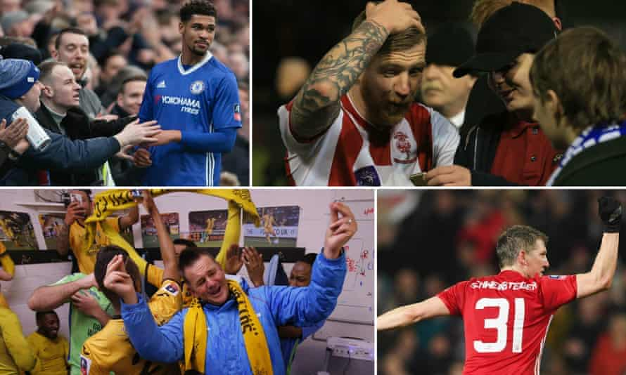 Clockwise from top left: Chelsea's Ruben Loftus-Cheek; Lincoln's Alan Power; Manchester United's Bastian Schweinsteiger; and Sutton manager Paul Doswell all had memorable fourth-round weekends