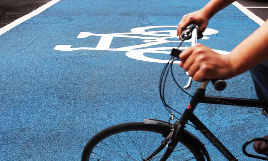A cyclist uses part of the new Cycle Superhighway in Kennington, London.
