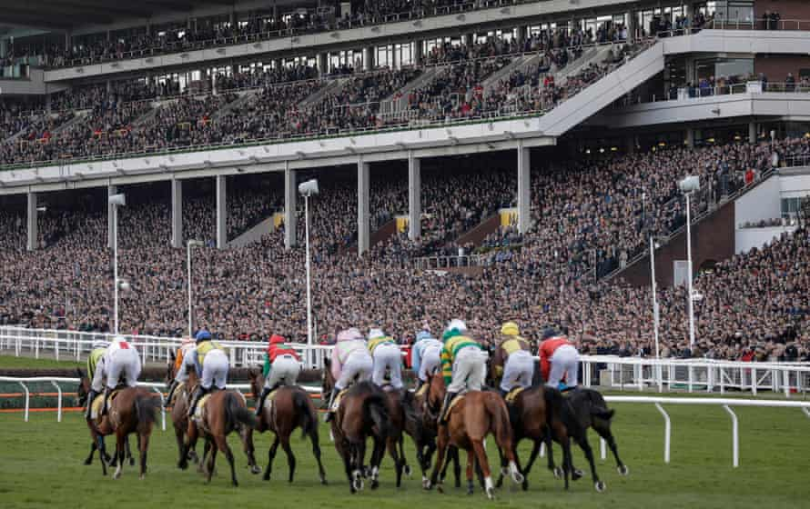 Runners in the opening race of day four pass by the packed main stand at the Cheltenham Festival on 13 March.