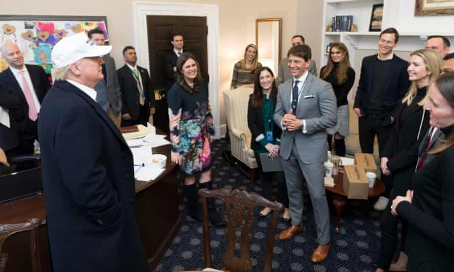 Trump meets White House staffers on Saturday.