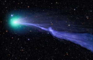 <strong>C/2014 Q2 Lovejoy</strong> Comet Lovejoy sails through the solar system in a green haze, leaving cometary dust in its wake