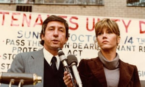 At a rally in New York in 1980 with her second husband, Tom Hayden.