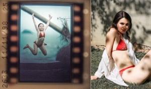Mia Hadrill in the red bikini which was given to her on a camping trip in the Isles of Scilly and a photo of her in it during that holiday