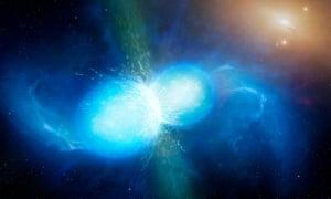 Artist's impression of two neutron stars colliding on Monday.