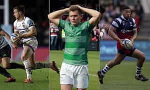 Leicester Tigers' George Ford on the attack against Harlequins, relegation for Toby Flood and Newcastle Falcons and Bristol Bears' Charles Piutau in action against Sale Sharks. Photographs by Rex/Shutterstock and Getty Images