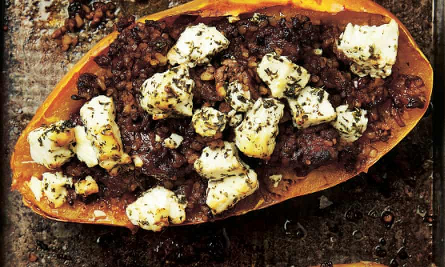 Photograph of Yotam Ottolenghi's spiced minced lamb with spaghetti squash