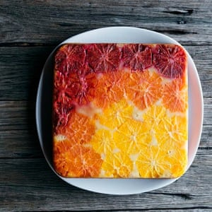 Upside down orange and vanilla ombre cake by @thebarefoothousewife