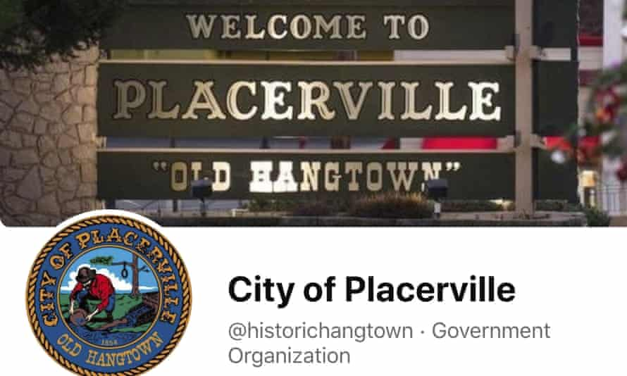 This image from the City of Placerville's Facebook page shows the town's logo, including a noose.
