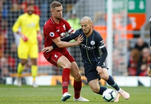 Jordan Henderson had a strong game at the base of the Liverpool midfield, where he had to contend with the movement of David Silva