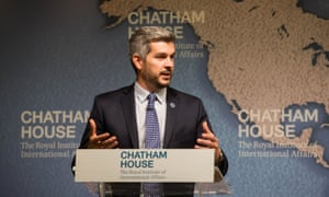 Argentina's cabinet chief, Marcos Pena, speaks at Chatham House in London on Wednesday.