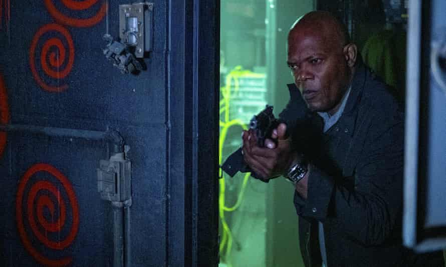 Samuel L Jackson in a scene from Spiral: From the Book of Saw.  (Brooke Palmer / Lionsgate via AP)