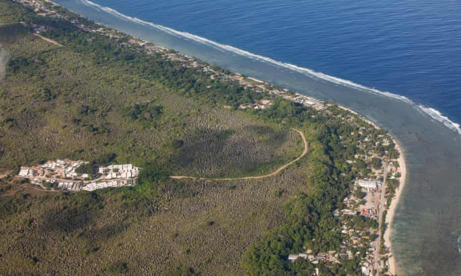 An aerial view of a detention centre on Nauru