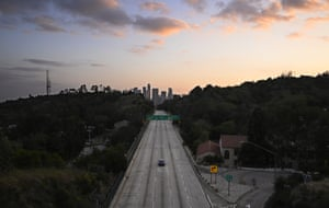 The Arroyo Seco parkway is quiet during rush hour in Los Angeles, US
