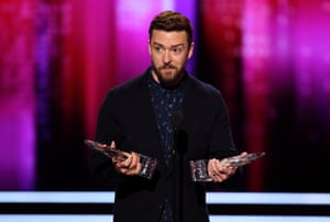 Justin Timberlake accepts awards on stage