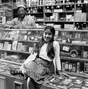 Ozzie Docrat with his daughter Nassima in his shop before its destruction under the Group Areas Act