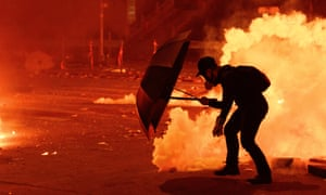 Protesters clash with police at Hong Kong Polytechnic University earlier this week.