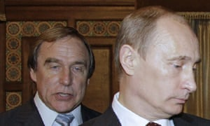 Sergei Roldugin and Putin pictured together in 2009.