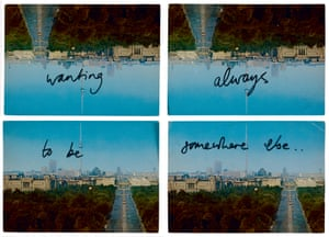 Ruth Proctor, Always wanting to be somewhere else, 2012. Four commercial postcards