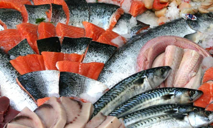 An array of fish on frozen ice in market, including salmon and mackerel at a fishmonger