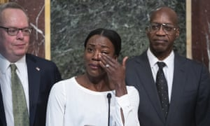 Alysia Montaño, the American middle-distance runner, wipes away tears as she tells of how she was cheated out of a medal at the 2012 Olympics by two drug-taking Russians.