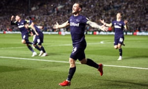 Jack Marriott celebrates scoring the decisive fourth goal, his second of the night, for Derby against Leeds.