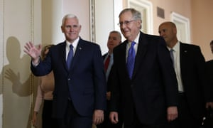 Senate Majority Leader Mitch McConnell (centre) with vice president-elect Mike Pence (left) in Washington this week.
