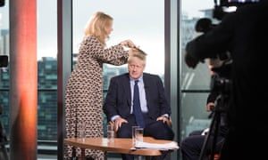 Boris Johnson prepares to appear on the BBC's Andrew Marr show.