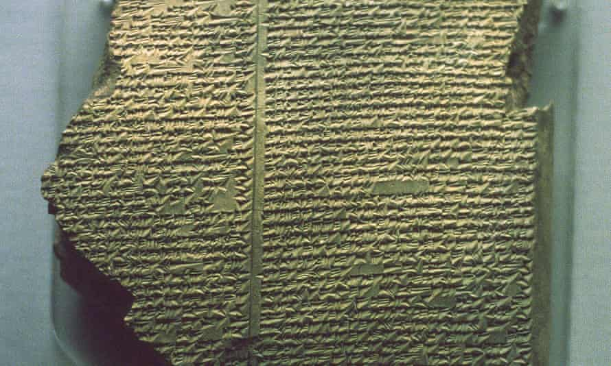 Part of a Babylonian cuneiform tablet inscribed with the Gilgamesh flood epic.