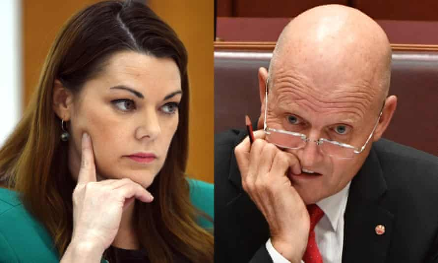 Greens senator Sarah Hanson-Young former Liberal Democrats senator David Leyonhjelm