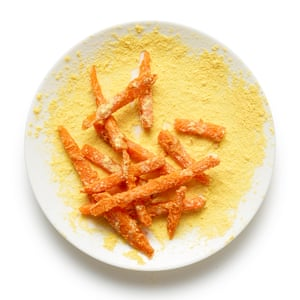 You don't have to roll the coated sweet potatoes in cornmeal, but it adds a lovely crunch to the end result