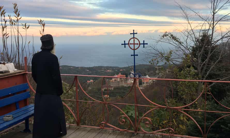Father Makarios looking out towards the sea.