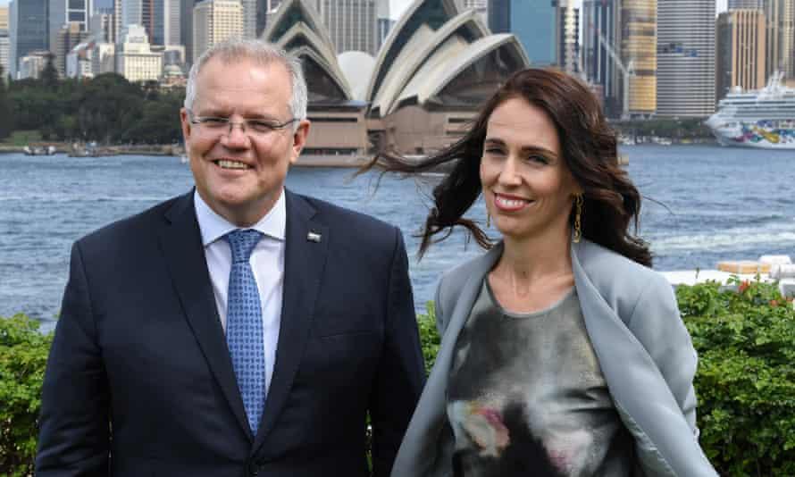 Stock image of Australian prime minster Scott Morrison and New Zealand prime minister Jacinda Ardern