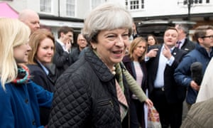 Theresa May campaigning in Abingdon near Oxford on 15 May 2017