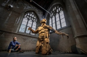Scunthorpe, England Jamie Frost installs his sculpture The Gaslighters Comeuppance for an exhibition at the Visual Arts Centre