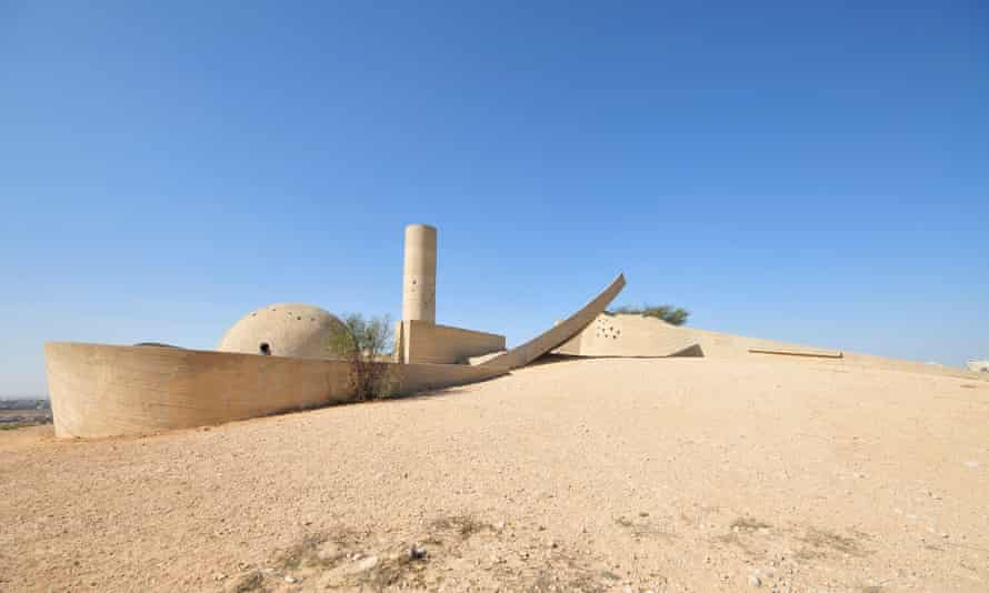The Negev Brigade monument at Beersheba, Israel, designed by Dani Karavan. He described it as 'a sculpture that people could climb and walk on, touch, hear, smell and see'.