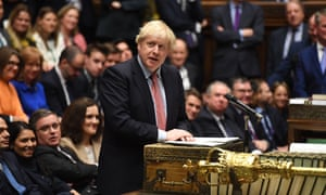 Boris Johnson in the House of Commons yesterday.