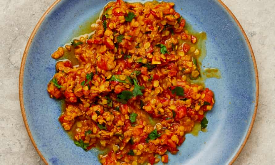 Yotam Ottolenghi's berbere lentils and tomatoes with ginger.