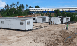 An asylum seeker's photo of work still going on at one of the new Lorengau accommodation centres