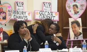Tressa Sherrod (right), John Crawford's mother, with the mothers of other young men who have died at the hands of police in December 2014.