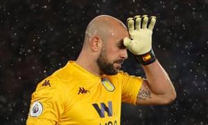Aston Villa's goalkeeper Pepe Reina