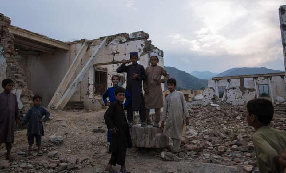 While a majority of Pekha village was destroyed in drone strikes, the village's school was bombed and attacked by the Islamic State. Barely any building is standing in Achin.