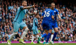 Manchester City's Nicolas Otamendi appeals to the referee saying that Leicester City's Riyad Mahrez accidently kicked the ball twice when he scored from the penalty spot.