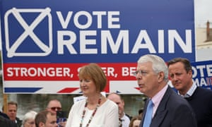 Sir John Major speaking at a Remain rally in Bristol this morning with Harriet Harman and David Cameron (right)