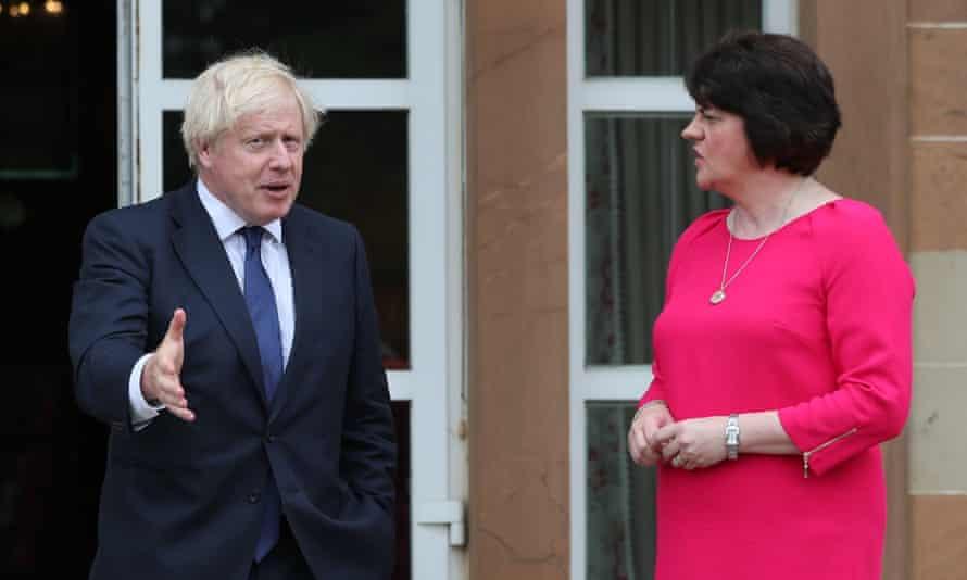 Arlene Foster with Boris Johnson Hillsborough Castle in Belfast