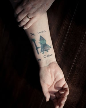 The arm of Jan Smith, showing a tattoo of a witch: the last drawing by her son Colin, a haemophiliac who was given contaminated blood and died aged seven