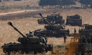 Israeli soldiers with artillery units near the country's border with Lebanon