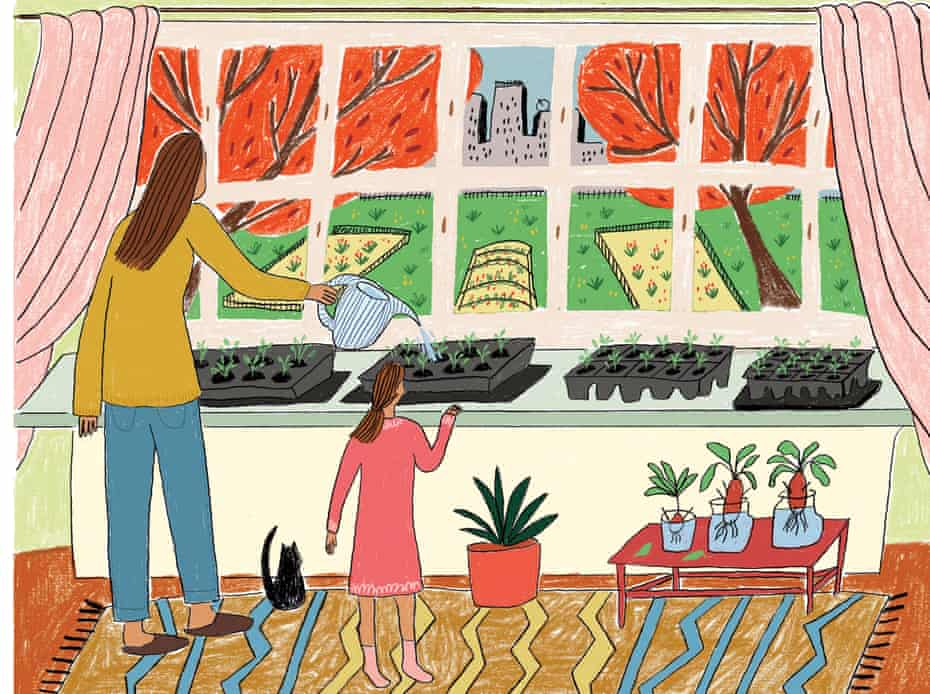 Illustration of mother and child watering seedlings on window sill
