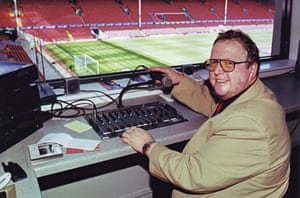 George Sephton, the 'Voice of Anfield', in his perch at Liverpool.