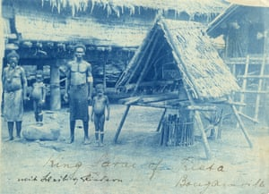 From 1885 to 1918 Bougainville was part of the German colony New Guinea. Big chief Serais with wife and children in main village Kieta, c1900.