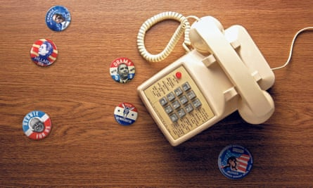 Office telephone with political campaign stickers